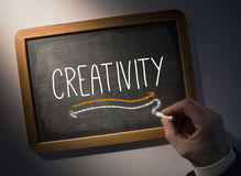 Hand writing Creativity on chalkboard Royalty Free Stock Images