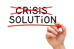Hand Writing Crisis Solution Concept royalty free stock photography