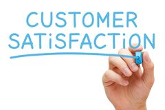 Customer Satisfaction Handwritten With Blue Marker royalty free stock photography