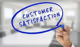 Hand writing customer satisfaction Royalty Free Stock Photos