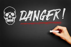 Hand writing Danger! on blackboard Royalty Free Stock Image