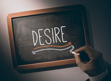 Hand writing Desire on chalkboard Stock Photography