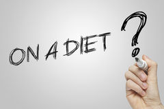 Hand writing on a diet Stock Image