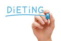 Dieting Handwritten With Blue Marker Stock Photo