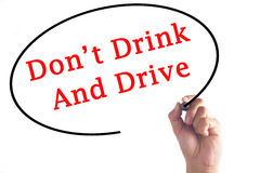 Hand writing Don't Drink And Drive on transparent board Stock Photography