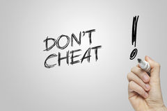 Hand writing don't cheat Royalty Free Stock Photos