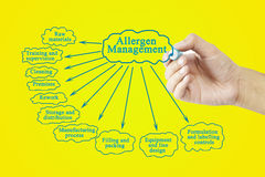 Hand writing element of Allergen Management for business concept. (Training and Presentation Stock Photography