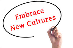 Hand writing Embrace New Cultures on transparent board Stock Photos