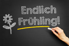 Hand writing Endlich Fruehling! Royalty Free Stock Images