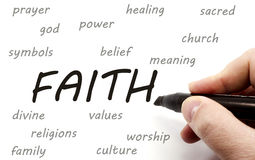 Hand writing FAITH and related words Royalty Free Stock Photography