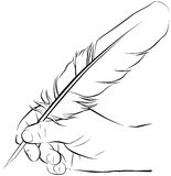 Hand writing with a feather pen. Vector illustration of an hand writing with a feather pen royalty free illustration