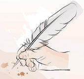 Hand writing with a feather pen. Vector illustration of an hand writing with a feather pen stock illustration