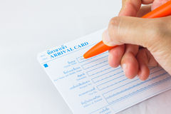 Hand writing. Or fill in Thailand arrival card stock photos