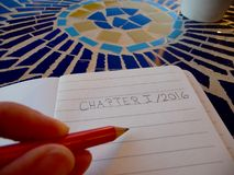 Hand writing first chapter 2016 Stock Photo