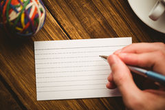 Hand writing on the flashcard Royalty Free Stock Photography