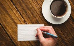 Hand writing on the flashcard Royalty Free Stock Photo