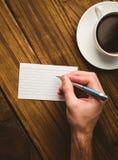 Hand writing on the flashcard Stock Photos