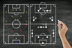 Hand writing foot ball tactic on blackboard Royalty Free Stock Photos