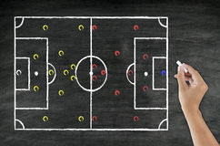 Hand writing football tactic Stock Photos
