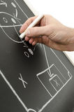 Hand writing a football strategy. On a chalkboard royalty free stock images