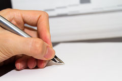 Hand Writing with Fountain Pen Royalty Free Stock Photo