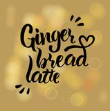Hand writing `Gingerbread latte`. Black color with bokeh background in yellow brown tones stock illustration