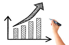 Hand writing graph and arrow Stock Photography