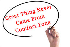 Hand writing Great Thing Never Came From Comfort Zone on transparent board.  royalty free stock images