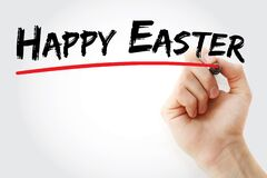 Hand writing Happy Easter with marker, holiday concept background