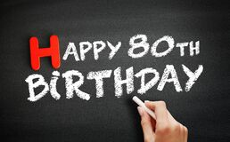 Hand writing Happy 80th birthday on blackboard, holiday concept background