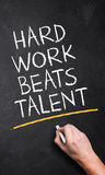 Hand writing 'Hard Work Beats Talent'. On a chalkboard Stock Images