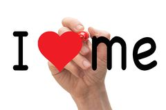 Hand writing I Love Me with red marker on whiteboard royalty free stock photos