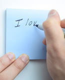 Hand writing I love you! Royalty Free Stock Photos