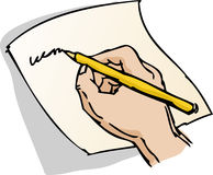 Hand writing illustration. Hand writing on a piece of paper lineart hand-drawn illustration royalty free illustration