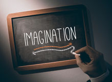 Hand writing Imagination on chalkboard Royalty Free Stock Photos