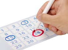 Hand writing important date Stock Photography