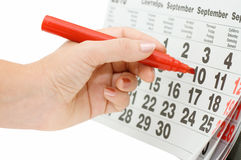 Hand writing important date Stock Photo