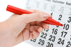 Hand writing important date Stock Photos