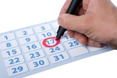 Hand writing important date Royalty Free Stock Image