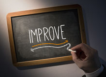 Hand writing Improve on chalkboard. Hand writing the word improve on black chalkboard Stock Photography