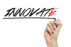 Hand writing innovate Stock Image