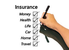 Hand writing insurance concept. Hand man writing insurance concept Royalty Free Stock Photos
