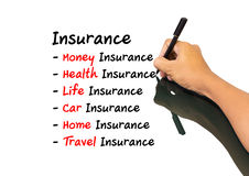 Hand writing insurance concept. Hand man writing insurance concept Stock Image