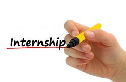 Hand writing Internship benefits with red marker. On transparent wipe board business/ education concept royalty free stock photos