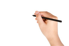 Hand writing isolate on white with clipping path Royalty Free Stock Images