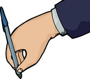Hand Writing. Isolated hand holding pen writing over white background royalty free illustration