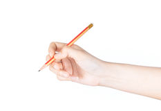 Hand writing isolated on the white background. Stock Images