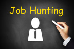 Hand writing job hunting on black chalkboard Royalty Free Stock Photography