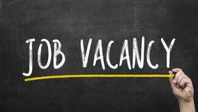 Hand writing Job vacancy on black chalkboard stock images