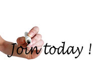 Hand writing Join Today! with black marker. On transparent whiteboard Stock Photos
